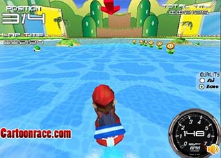 Mario jetski race играть онлайн